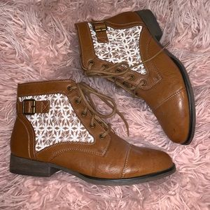Madden Girl Brown and Lace Booties